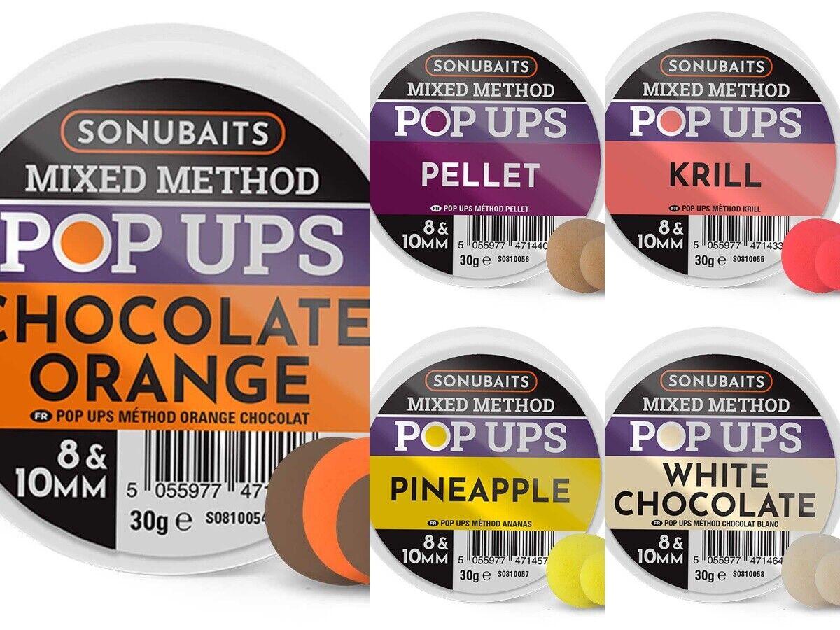 Pineapple Sonubaits Pop Ups 8 /& 10 mm Method Feeder Chocolate Orange Krill