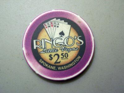 Beautiful Purple $2.50 Poker Chip - Spokane, WA, Ringo's Little Vegas Casino