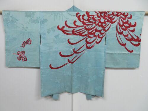 1018i05z450 Vintage Japanese Kimono Silk HAORI Light blue Chrysanthemum