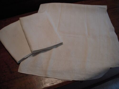 3 Large White Irish Linen Damask Kitchen Towels : 18 inches by 40 inches