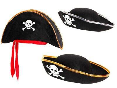 Piratenhut für Kinder Seeräuber Totenkopf Piratenparty Kostüm Hut Pirat Karneval ()