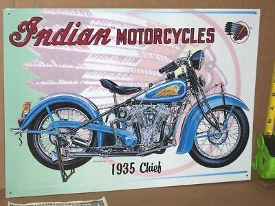 Indian Chief 1935 MOTORCYCLE - Shows Details of Early Bike  -OLD SIGN Dated 1996