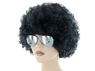 Karneval Set 70er Outfit (Kv-196) Afro Perücke Schwarz,Sonnenbrille Silber