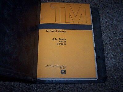 John Deere 860b 860 B Scraper Technical Repair Service Shop Manual Tm1171