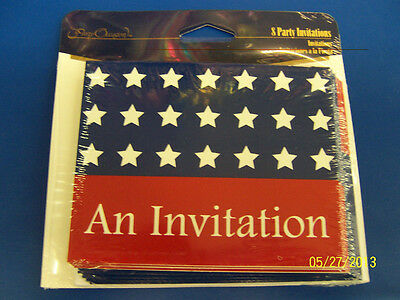 Stars & Stripes USA Flag Patriotic 4th of July Party Invitations w/Envelopes *