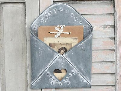 Zinc Metal Letter Holder Newspaper Post Rack Vintage Shabby Storage Chic Basket