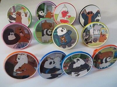 12 We Bare Bears Rings cupcake toppers - birthday party favor pinata cake toys