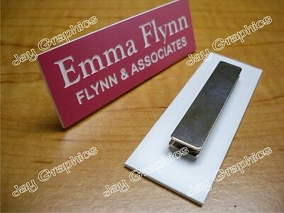 Custom Engraved 1x3 Pink Name Tag Badge Magnet Employee Identification Id