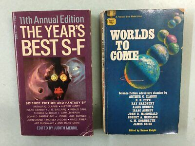 2 Vintage Sci-Fi Short Story Collections - Worlds to Come & Year's Best