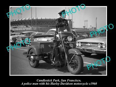 OLD LARGE MOTORCYCLE PHOTO OF SAN FRANCISCO POLICE WITH HARLEY DAVIDSON c1960