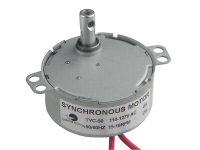 Small Ac Motor Tyc-50 Synchronous Motor Gear 110v Ac 15-18rpm Cw 4w Fire Place