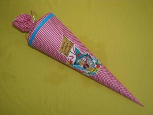 Alte Zuckertüte Schultüte 70 cm Stoffbezogen Handarbeit ca 1970 Sammlerstück