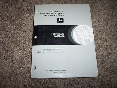 John Deere 350c 400c Articulated Dump Truck Shop Service Repair Manual Tm1789