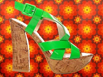 S9✪ 60er 70er Jahre Hippie Lack Plateau Schuhe Kork Riemchen Sandale neongrün