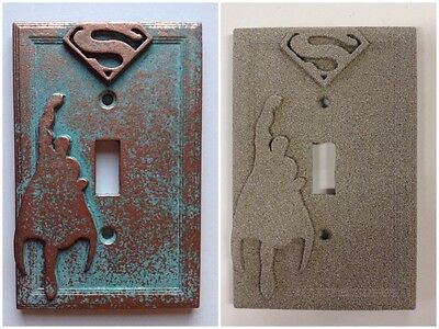 Superman Light Switch Cover - Aged Copper/Patina or Stone  Light Switch Cover Stone