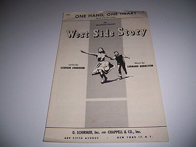 1950's BROADWAY WEST SIDE STORY PLAYBILL SHEET MUSIC - ONE HAND, ONE HEART