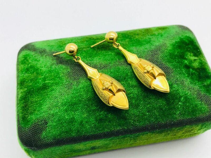 Antique Victorian GF Gold Filled Hollow Drop Dangle Earrings
