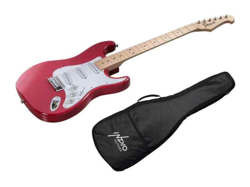 Monoprice Indio Cali Classic Electric Guitar - Wine Red, With Gig Bag