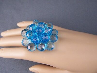 - Aqua ring big huge faceted beads beaded flower cocktail adjustable wide