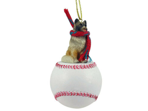 Keeshond Dog Baseball Sports Figurine Ornament
