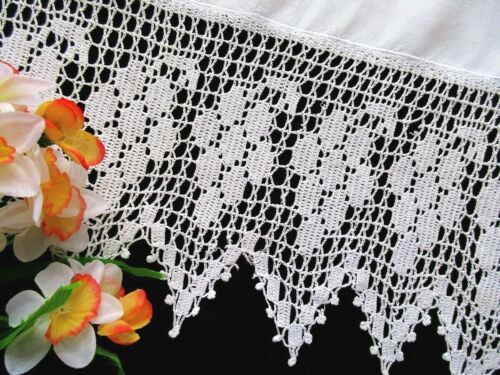 Antique Fine White Linen Towel  With Wide Handmade Crochet Lace Edge