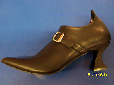 ELF Shoes Black Witch Buckle Fancy Dress Up Halloween Adult Costume Accessory
