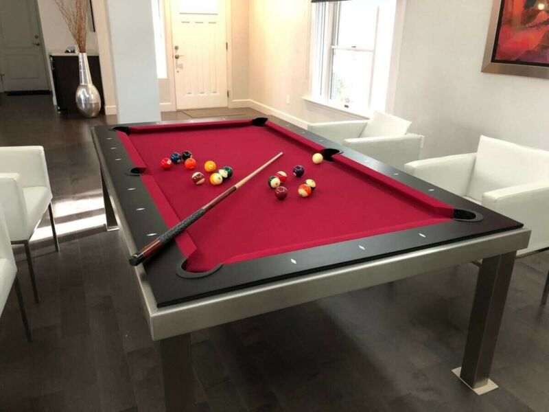 Aramith Brushed Stainless Steel w Brown Top Fusion Pool Table + Extras - USED