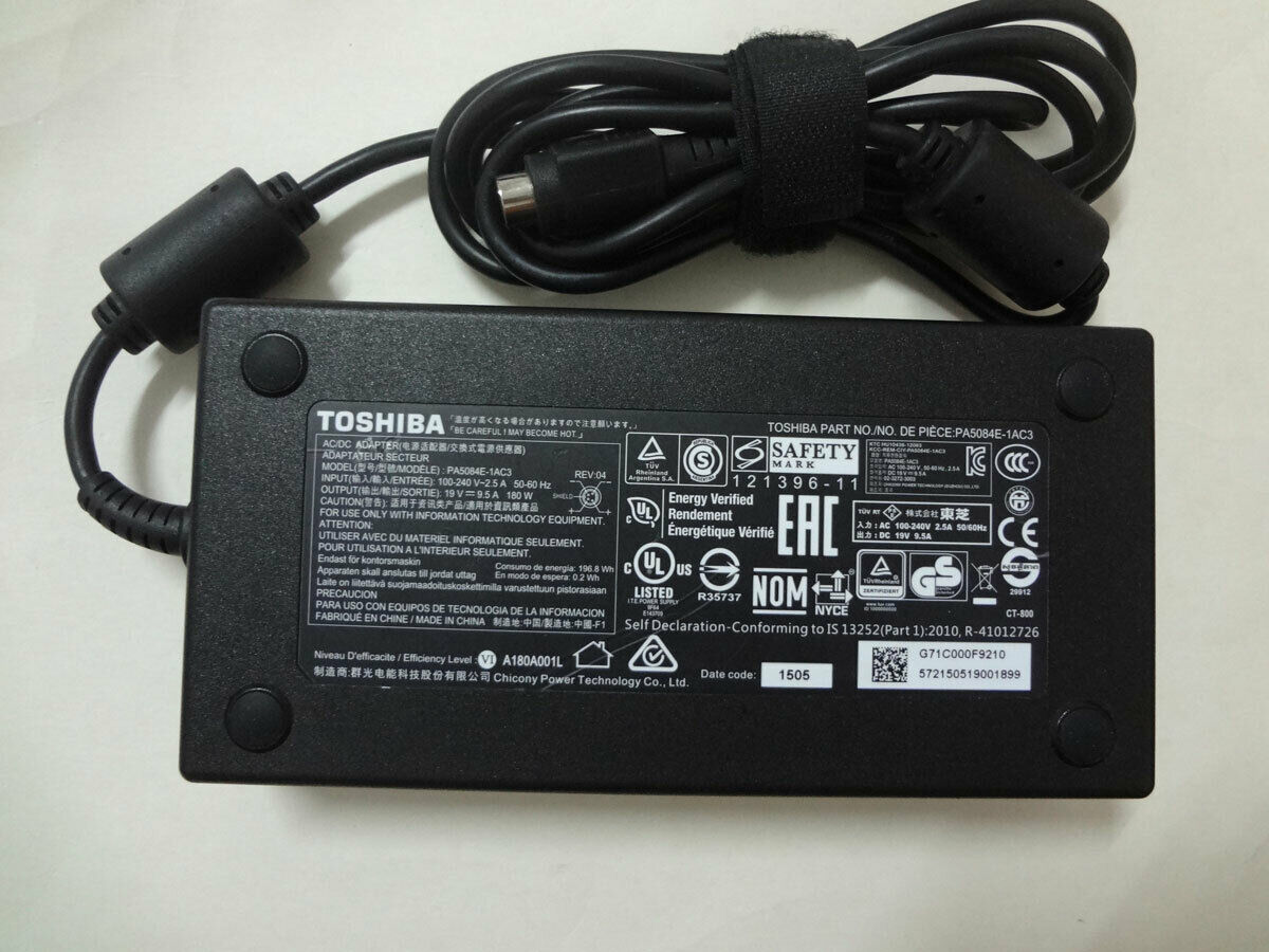 "Genuine Toshiba Qosmio X70-A 17.3/"" AC Power Adapter 19V 9.5A 180W PA5084E-1AC3"