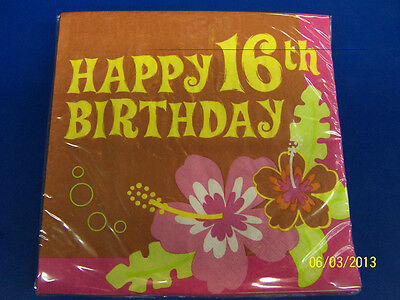 Aloha Birthday 16th Sweet 16 Luau Beach Tropical Party Paper Luncheon Napkins