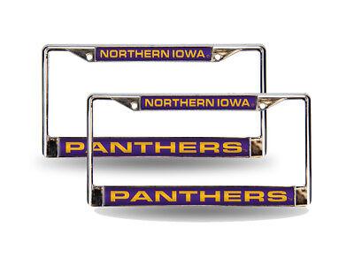 Northern Iowa Panthers Chrome Metal (2) Laser Cut License Plate Frame Set Northern Iowa Set