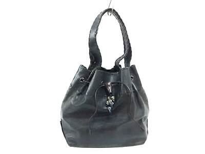 Auth HENRY BEGUELIN Black Leather Tote Bag