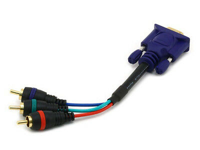 6-inch Projector Cable VGA HD15 to 3-RCA YPbPr RGB Component Video Adapter Cable