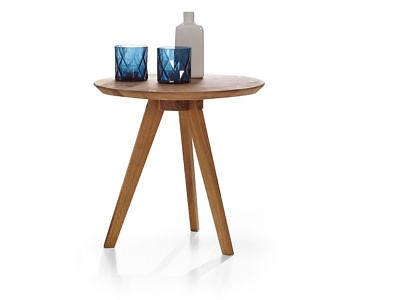 Schlafzimmer Runden Beistelltisch (AUSTIN Tisch Beistelltisch Schlafzimmertisch Tisch rund 90 cm   Wildeiche massiv)
