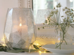 SILVER GLASS LUSTRE VASE HURRICANE LAMP CANDLE HOLDER VOTIVE LANTERN VALENTINE