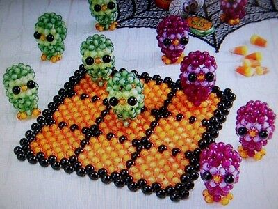 SUNRISE HALLOWEEN OWLS TIC-TAC-TOE GAME BUBBLE BEAD KIT BOARD & PLAYING PIECES - Tic Tac Toe Halloween Game