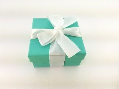 Luxury Green Gift Box with White Ribbon,Cube Brides Jewellery Gift Box, -