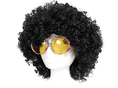 2tlg Afro-Perücke Brille Disco Hippie-Kostüm Karneval Fasching Schlager KV-25