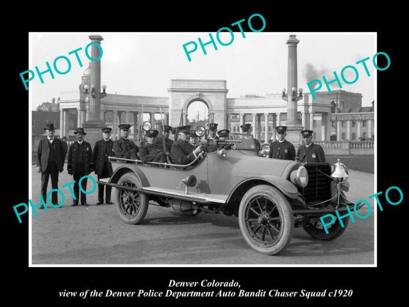 OLD POSTCARD SIZE PHOTO OF DENVER COLORADO THE POLICE AUTO BANDIT SQUAD c1920