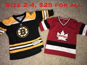 Boston Bruins and Canada jerseys size 2-4