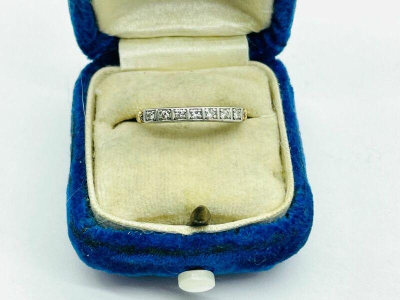 Edwardian 18K Rose Gold Platinum Diamond Wedding Band Ring