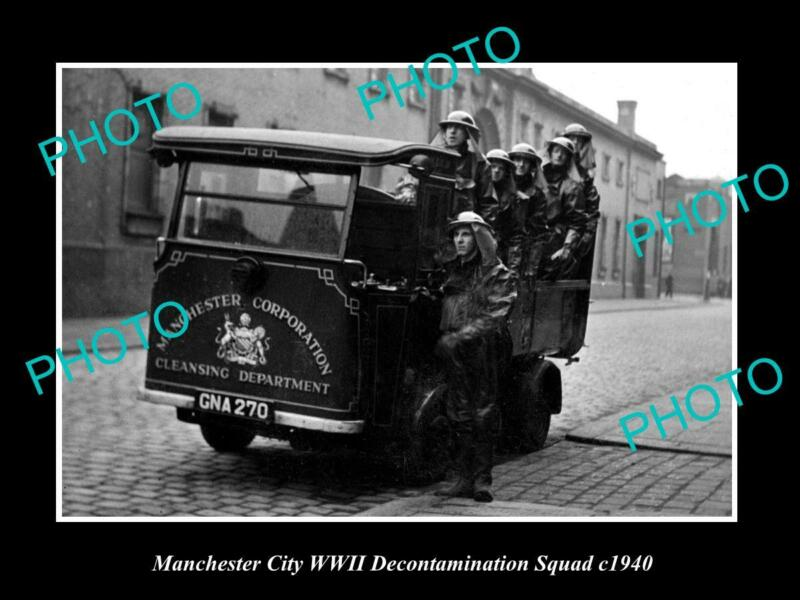 OLD POSTCARD SIZE PHOTO OF MANCHESTER WWII DECONTAMINATION SQUAD c1940 UK