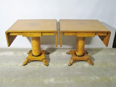 PAIR Italian-Made Biedermeier Birch Drop Leaf Tables; Retailed by Bloomingdale