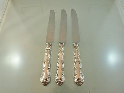 """LOUIS DE FRANCE LUNCHEON KNIVES FRENCH BLADE SET OF 3  BY REGENCY PLATE BIRKS """"P"""