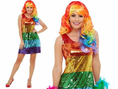ainbow Kostüm Pride Kostüm Flapper Outfit UK 8-18 (Glitzernde Outfits)