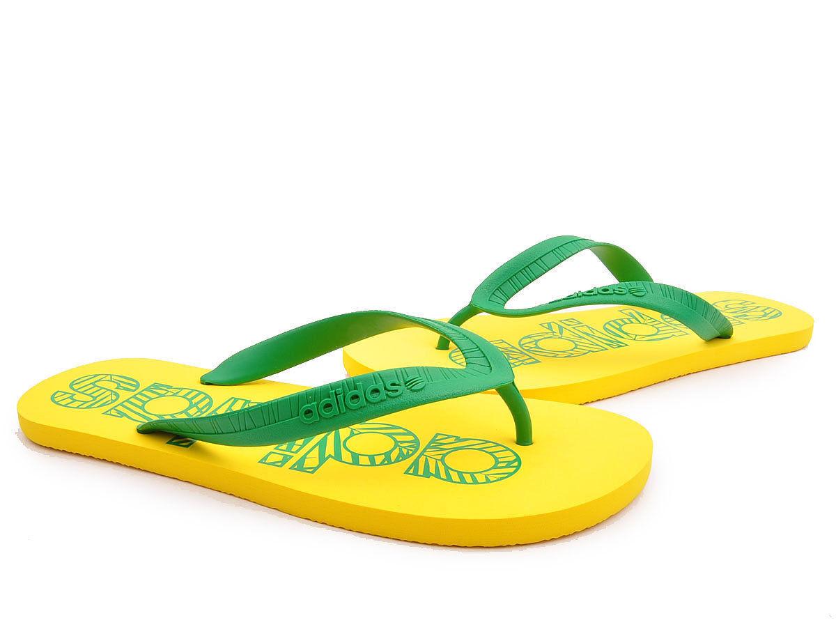 0a49500c4478 Adidas Flipper Yellow Green Flat Flip Flop Mens Boys Sandals Size 5-12 UK