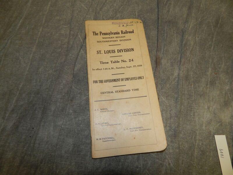 1936 Pennsylvania Railroad PRR Employee timetable time table