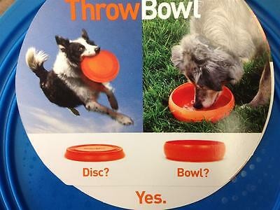 """PAWW Throw Bowl Blue Soft 8.5"""" Dog Water Bowl and Throwing Disc In One WA51339"""
