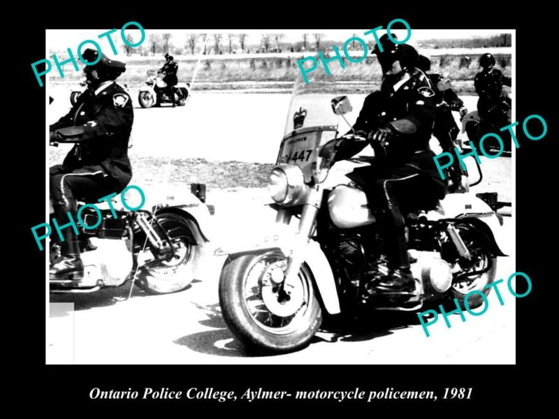 OLD LARGE HISTORIC PHOTO OF ONTARIO POLICE MOTORCYCLE COLLEGE, c1981 CANADA