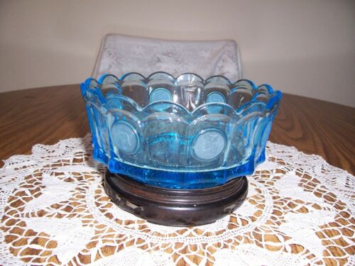 FOSTORIA BLUE COIN GLASS BOWL