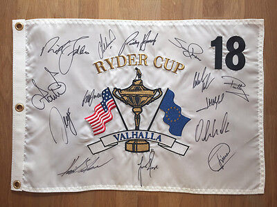 Team SIGNED 2008 Ryder Cup Golf Flag 1 AUTOGRAPH AFTAL COA Valhalla Kentucky USA